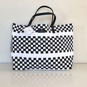 Kate Spade Black & White Large Woven Tote Bag